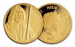 2017 Niue 250 Dollar 1-oz Gold Star Wars Obi-Wan Proof
