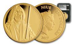 2017 Niue 250 Dollar 1-oz Gold Star Wars Obi-Wan NGC PF69UCAM First Releases