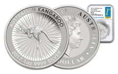 2017 Australia 1 Dollar 1-oz Silver Kangaroo NGC MS69 First Day of Issue