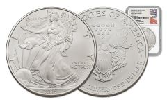 2015-W 1 Dollar 1-oz Silver Eagle Burnished NGC MS70 FDI Mercanti Signed