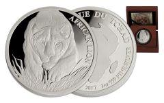 2017 Chad 5000 Franc 1-oz Silver Lion Proof