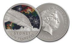 2017 Australia 1 Dollar 1/2-oz Silver Sydney New Year's Eve Uncirculated