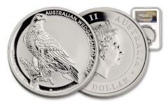 2017 Australia 1 Dollar 1-oz Silver Wedge-Tailed Eagle NGC MS69 Mercanti Signed