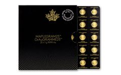 2017 Canada 1 Gram Gold Maple Leaf BU 25-Coin Sheet