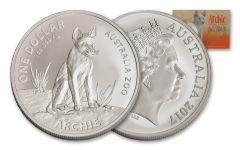 2017 Australia 1 Dollar 1-oz Silver Archie the Alpine Dingo Uncirculated