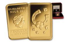 2016 Niue 7 Dollar 2 Gram Gold Ingot of Happiness Proof