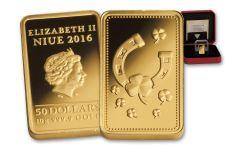 2016 Niue 50 Dollar 10 Gram Gold Ingot of Happiness Proof