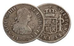 1789-1797 Spain 1/2 Reale Silver Fine Washington