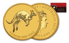 2017 Australia 2 Dollar Half Gram Gold Kangaroo Uncirculated