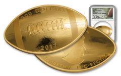 2017 Canada 1 Ounce $200 Gold Football NGC PF69 FDI Theismann Signed