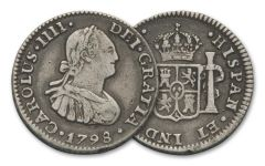 1772-1825 Spain Silver 1/2 Reale VF