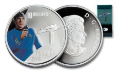 2016 Canada 10 Dollar Silver Star Trek Spock Gem Proof