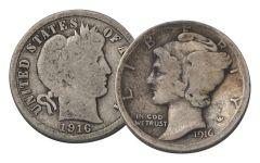 1916 10 Cent Silver Barber/Mercury G-VG 2pc Set
