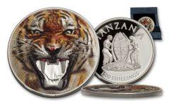 2017 Tanzania 1500 Shilling 2-oz Silver Royal Bengal Tiger Proof