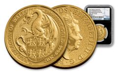 2017 Great Britain 100 Pound 1-oz Gold Queens Beast Dragon NGS MS69- First Releases- Black