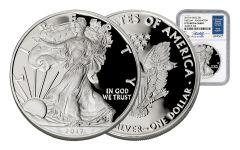 2017 1 Dollar Silver Eagle NGC PF70UCAM FDI Jeppson With Bonus 2017 Silver Eagle MS70 Jeppson