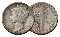"1945-S 10 Cent Mercury Dime Micro ""S"" VG"
