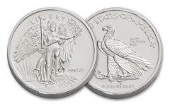 2017 1-oz Silver Saint Gauden's Winged Liberty BU