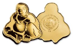 Palau 1 Dollar 1/2 Gram Golden Laughing Buddha Brilliant Uncirculated