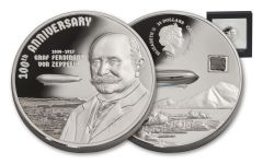 2017 Cook Islands 20 Dollar 3-oz Silver 100th Anniversary of Graf Zeppelin Proof