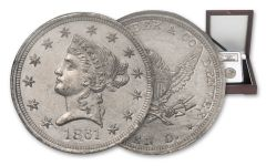 1861 10 Dollar Clark Gruber K-11 Pattern White Metal NGC MS62