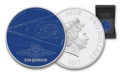 2017 Niue 2 Dollar 1-oz Silver Star Wars Ships Star Destroyer Proof