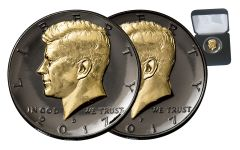 2017 Kennedy Half-Dollar Black Ruthenium 24K Gold 2-Coin Set