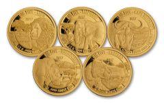 2017 Tanzania 1/2 Gram Gold Big Five Proof 5-Pc Set