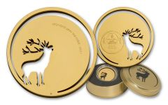 2017 Mongolia 500 Togrog 1/2-oz Gilded Silver Roaring Deer BU