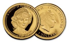 2017 Cook Islands 5 Dollar Gold In Memory of Princess Diana Proof-Like