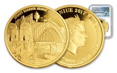 2017 Niue 1-oz Gold Sydney Bridge NGC PF70 85th Anniversary