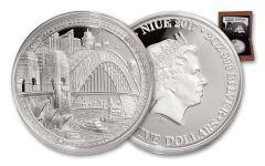 2017 Niue 5 Dollar 2-oz Silver Sydney Bridge High-Relief Proof 85th Anniversary