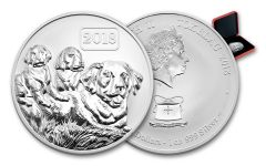 2018 Tokelau 5 Dollar 1-oz Silver Year of the Dog Reverse Proof