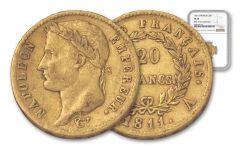 1811-A France 20 Franc Napoleon Rive D' I NGC VF35