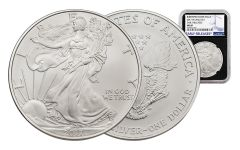 2017-W 1 Dollar 1-oz Burnished Silver Eagle NGC MS69 Early Release - Black