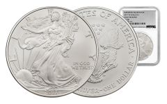 2017-W 1 Dollar 1-oz Burnished Silver Eagle NGC MS70 First Release Silver Foil Label