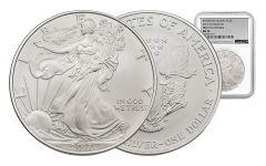 2017-W 1 Dollar 1-oz Burnished Silver Eagle NGC MS70 First Day Of Issue Silver Foil Label