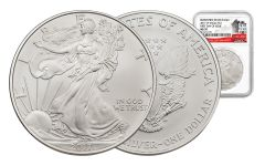 2017-W 1 Dollar 1-oz Burnished Silver Eagle NGC MS70 First Day Of Issue 225th Anniversary