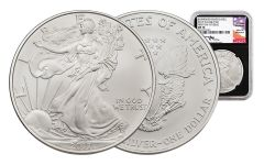 2017-W 1 Dollar 1-oz Burnished Silver Eagle NGC MS70 First Day Of Issue Mercanti Signed - Black