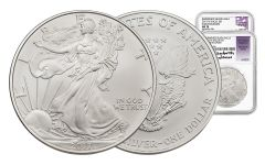 2017-W 1 Dollar 1-oz Burnished Silver Eagle NGC MS70 Early Release Mercanti - Jones 2pc Set