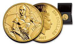 2017 Niue 250 Dollar 1-oz Gold War Wars C3PO Proof