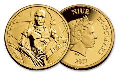 2017 Niue 25 Dollar 1/4-oz Gold Star Wars Classic C-3PO Proof