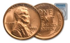 1955-S 1 Cent Lincoln Wheat Penny PCGS MS65 Red