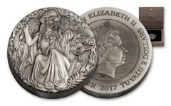 2017 Tuvalu 2 Dollar 2-oz Norse Goddesses Frigg High Relief Antiqued