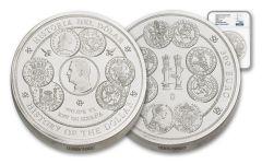 2017 Spain Kilo Silver History of the Dollar NGC PF70UC