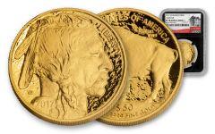 2017-W 50 Dollar 1-oz Gold Buffalo Proof NGC PF70UCAM 225th Anniversary - Black