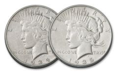 1934-1935-P Peace Dollar XF 2pc Set