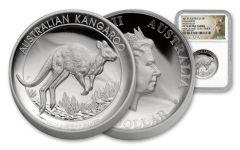 2017 Australia 1 Dollar 1-oz Silver Kangaroo High Relief NGC PF70UCAM First Struck