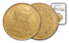 1773-S Spain 4 Escudos Gold NGC AU55