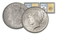 1921-1922-P Morgan & Peace Silver Dollars NGC MS64 Smithsonian Classics 2pc Set